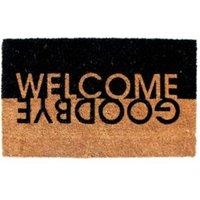 Colours Edra Black & White Welcome  Goodbye Coir Doormat (L)75cm (W)45cm