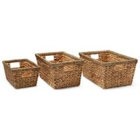 Water hyacinth & seagrass Stackable Storage basket  Set of 3