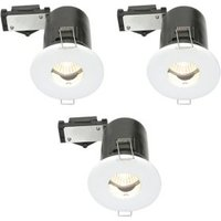Diall White Gloss LED Fixed Downlight 3.5 W IP65  Pack of 3