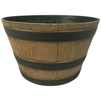 Whiskey Barrel Round High Density Resin Woodgrain Effect Plant Pot (Dia)394mm