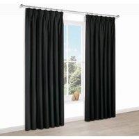 Prestige Black Plain Pencil Pleat Lined Curtains (W)228 cm (L)228 cm
