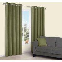 Candra Green Herringbone Jacquard Eyelet Lined Curtains (W)167 cm (L)228 cm