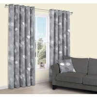 Centola Grey Leaves Print Eyelet Lined Curtains (W)228 cm (L)228 cm