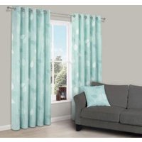 Centola Duck Egg Leaves Print Eyelet Lined Curtains (W)167 cm (L)228 cm