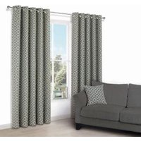 Edeva Grey Diamond Jacquard Eyelet Lined Curtains (W)228 cm (L)228 cm