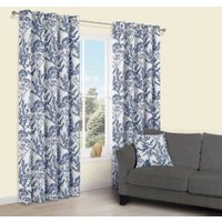 Charde Blue Meadow Print Eyelet Lined Curtains (W)117 cm (L)137 cm