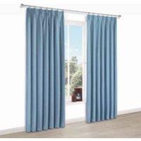 Elva Blue Plain Blackout Pencil Pleat Blackout Curtains (W)167 cm (L)183 cm