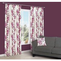 Deysi Pink Floral Pencil Pleat Lined Curtains (W)167 cm (L)183 cm