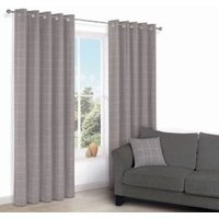 Carlena Brown & Cream Check Eyelet Lined Curtains (W)167 cm (L)228 cm
