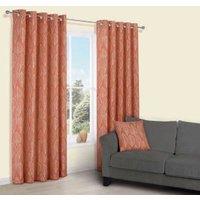 Carminda Orange Leaves Print Eyelet Lined Curtains (W)167 cm (L)183 cm