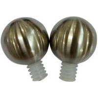 Stainless Steel Ball Curtain Finial (Dia)19mm  Pack of 2