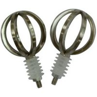 Stainless Steel Effect Metal Cage Ball Curtain Finial (Dia)19mm  Pack of 2