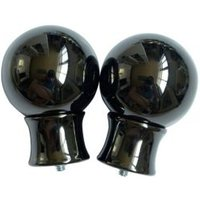 Black Nickel Effect Metal Ball Curtain Finial (Dia)28mm  Pack of 2
