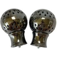 Black Nickel Effect Pierced Metal Ball Curtain Finial (Dia)28mm  Pack of 2