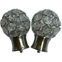 Stainless Steel Effect Metal Jewelled Ball Curtain Finial (Dia)28mm  Pack of 2