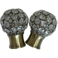 Antique Brass Effect Metal Jewelled Ball Curtain Finial (Dia)28mm  Pack of 2