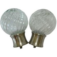 Stainless Steel Effect Glass Ball Curtain Finial (Dia)28mm  Pack of 2