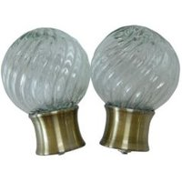 Antique Brass Effect Glass Ball Curtain Finial (Dia)28mm  Pack of 2