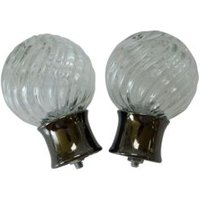 Black Nickel Effect Glass Ball Curtain Finial (Dia)28mm  Pack of 2