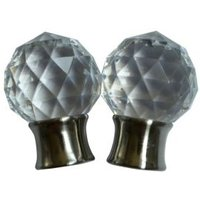 Stainless Steel Effect Acrylic Curtain Finial (Dia)28mm  Pack of 2
