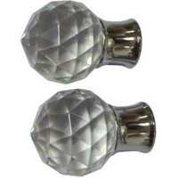Colours Flete Chrome Effect Ball Finial (L)75mm (Dia)28mm  Set of 2