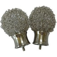 Pallas Stainless Steel Effect Metal Curtain Finial (Dia)28mm  Pack of 2