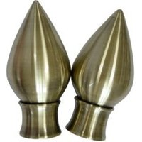 Antique Brass Effect Metal Teardrop Curtain Finial (Dia)35mm  Pack of 2