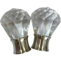 Stainless Steel Effect Acrylic Crystal Orb Curtain Finial (Dia)35mm  Pack of 2