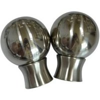 Stainless Steel Effect Metal Ball Curtain Finial (Dia)35mm  Pack of 2