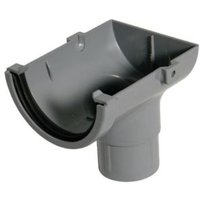 FloPlast Miniflo Gutter stop end outlet (Dia)76 mm  Grey