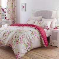 Canterbury Floral Red  White & Pink King Size Bed Set