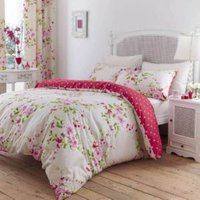 Canterbury Floral Red  White & Pink Single Bed Set