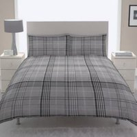 Chartwell Dublin Check Black Single Bed Cover Set
