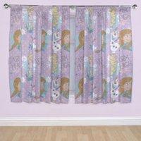 Frozen Purple Pencil Pleat Children's Curtains (W)167 cm (L)137 cm