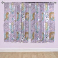 Frozen Multicoloured Header Tape Curtains (W)167cm (L)137cm.