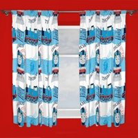 Thomas The Tank Engine Blue & White Pencil Pleat Children's Curtains (W)168 cm (L)137 cm