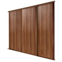 Shaker Natural Walnut effect Sliding wardrobe door (H)2223 mm (W)762mm  Pack of 3