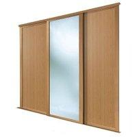 Shaker Mirrored Oak effect Sliding wardrobe door (H)2223 mm (W)762mm  Pack of 3