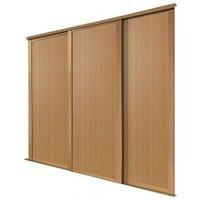 Shaker Natural Oak effect Sliding wardrobe door (H)2223 mm (W)914mm  Pack of 3