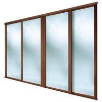 Full Length Mirror Natural Walnut Effect Sliding Wardrobe Door (H)2223 mm (W)610 mm  Pack of 4