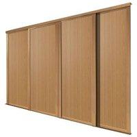 Shaker Natural Oak effect Sliding wardrobe door (H)2223 mm (W)762mm  Pack of 4