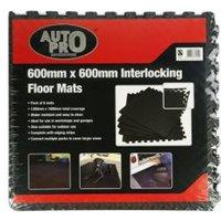 Auto Pro Interlocking EVA Foam Black Floor Mats  Pack of 6