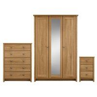 Manor Pre-Assembled Oak effect 3 piece bedroom furniture set