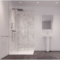 Splashwall Tuscan White 2 Sided Shower Panelling Kit (L)2420mm (W)1200mm (T)11mm