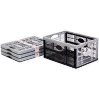 B&Q Black 32L Plastic Folding crate  Pack of 3