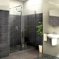 Aquadry Front & pivoting splash panel (H)2015mm (W)900mm