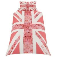 Union Jack Flower Pink Single Duvet Set