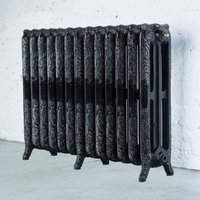 Arroll Montmartre 3 Column radiator  Black & silver (W)1074mm (H)760mm
