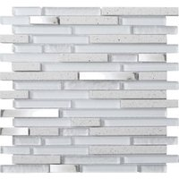 Quartz Quartz Stone effect Glass & metal Mosaic tile  (L)306mm (W)303mm