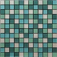 Acapulco Green & white Glass & marble Mosaic tile sheets (L)150mm (W)110mm